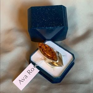 Ava Ro Sterling silver ring with amber stone